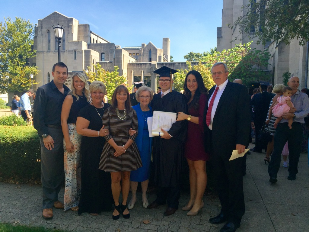 JoAnn & the family at Marc's graduation from the Pittsburgh Institute of Mortuary Science.