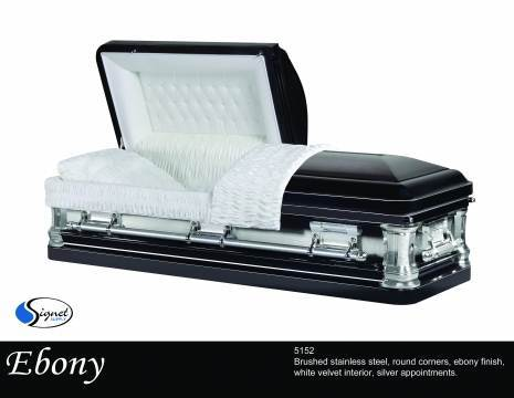 Ebony - Stainless Steel - Standard Casket Large Shell