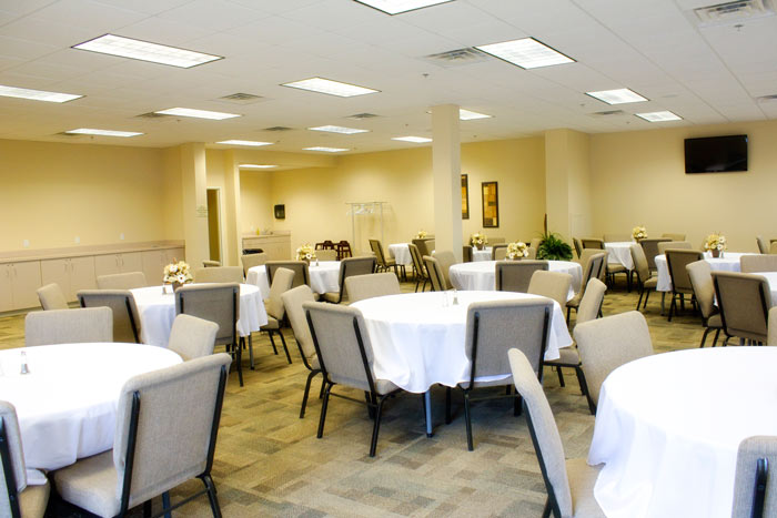 Lasater Family Center, a reception area for food and fellowship following funeral and memorial services.