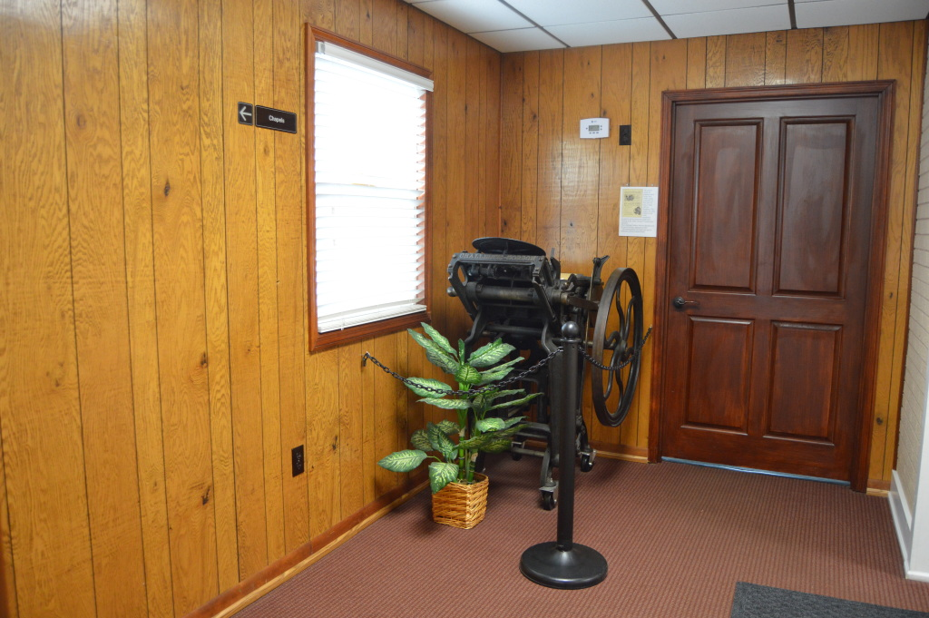Antique printing press from funeral home