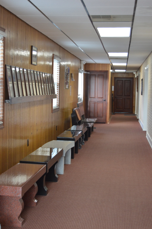 Monument benches in hallway