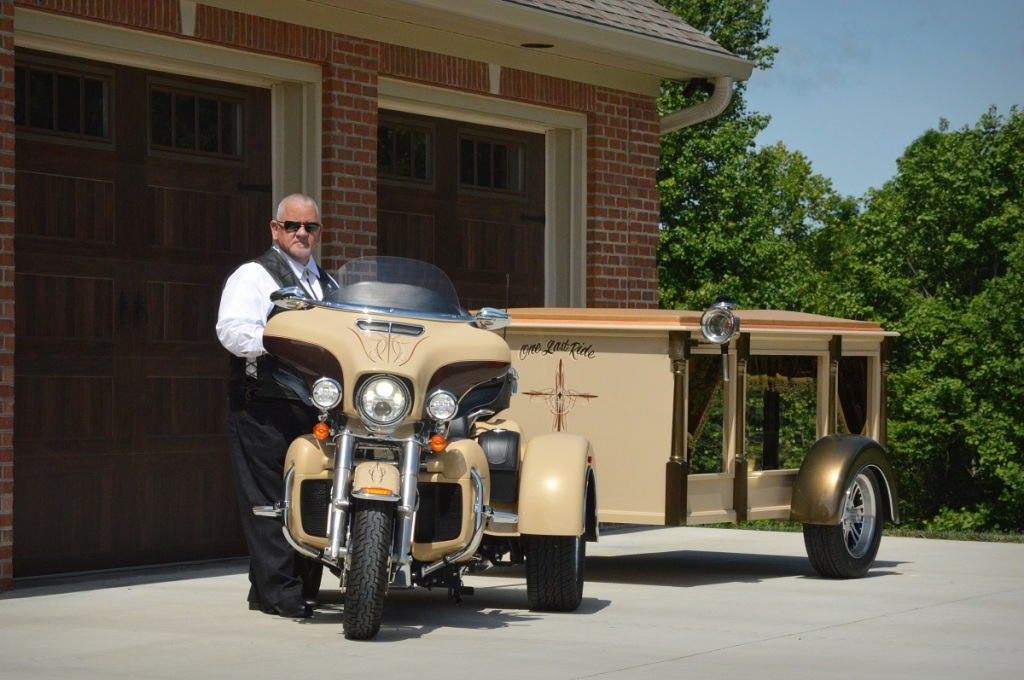 Motorcycle hearse with driver