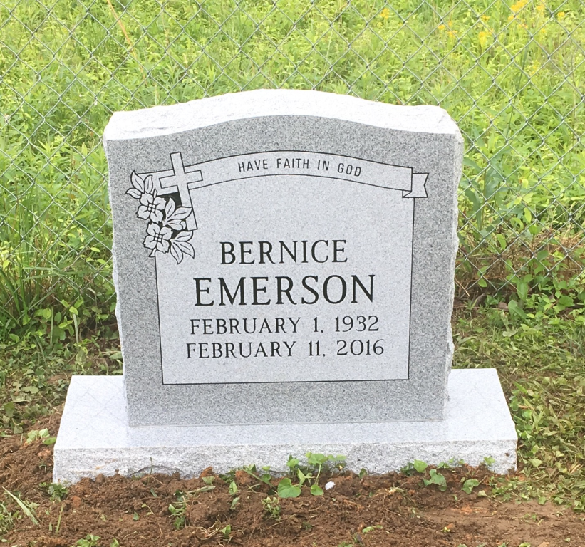 Headstone for Bernice Emerson
