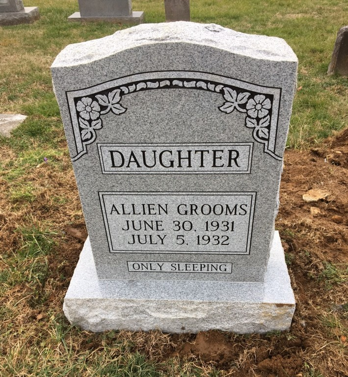 Headstone for Allien Grooms