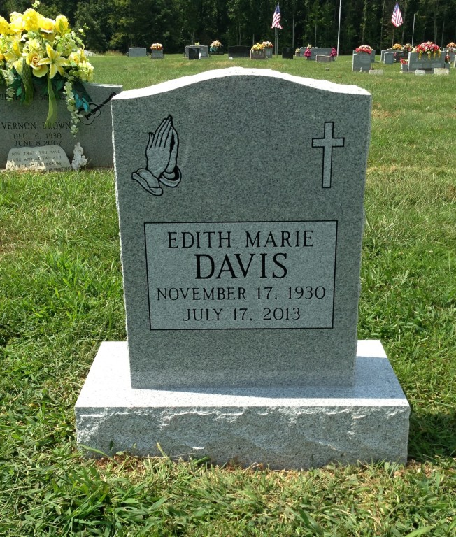 Headstone for Edith Marie Davis