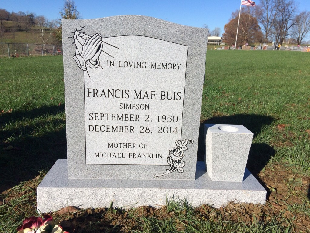Headstone for Francis Mae Buis Simpson
