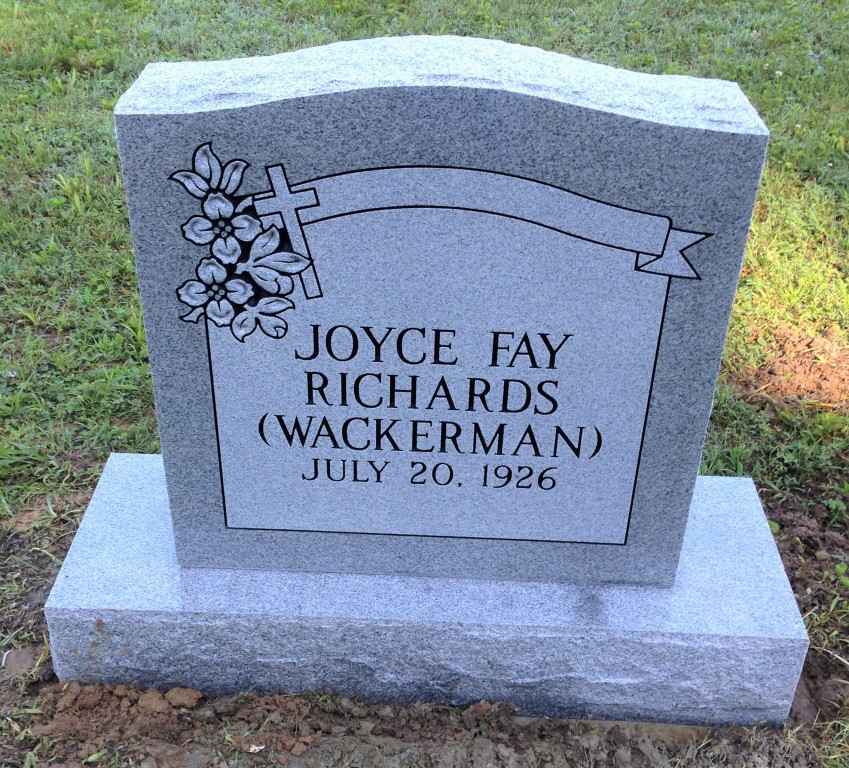Headstone for Joyce Fay Richards Wackerman