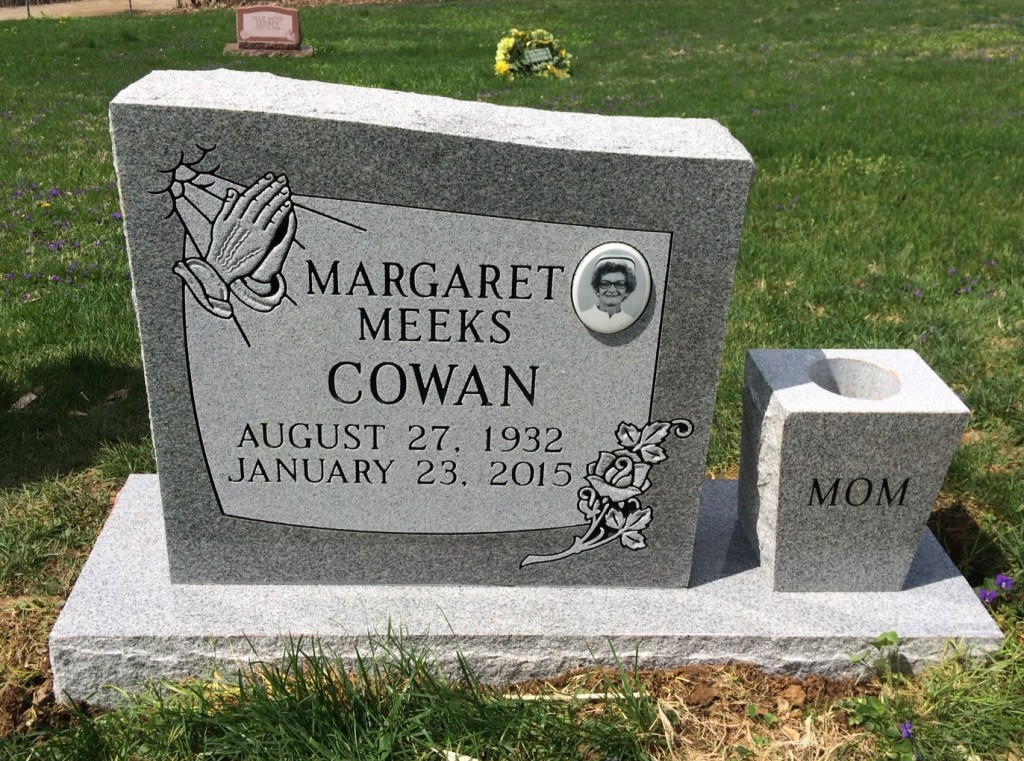 Headstone for Margaret Meeks Cowan