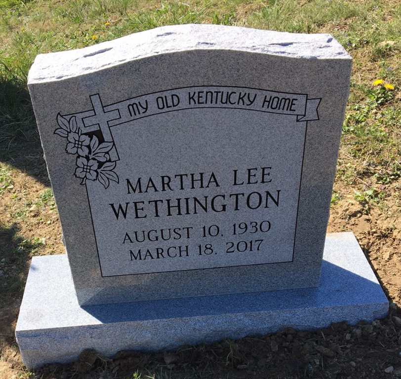 Headstone for Martha Lee Wethington