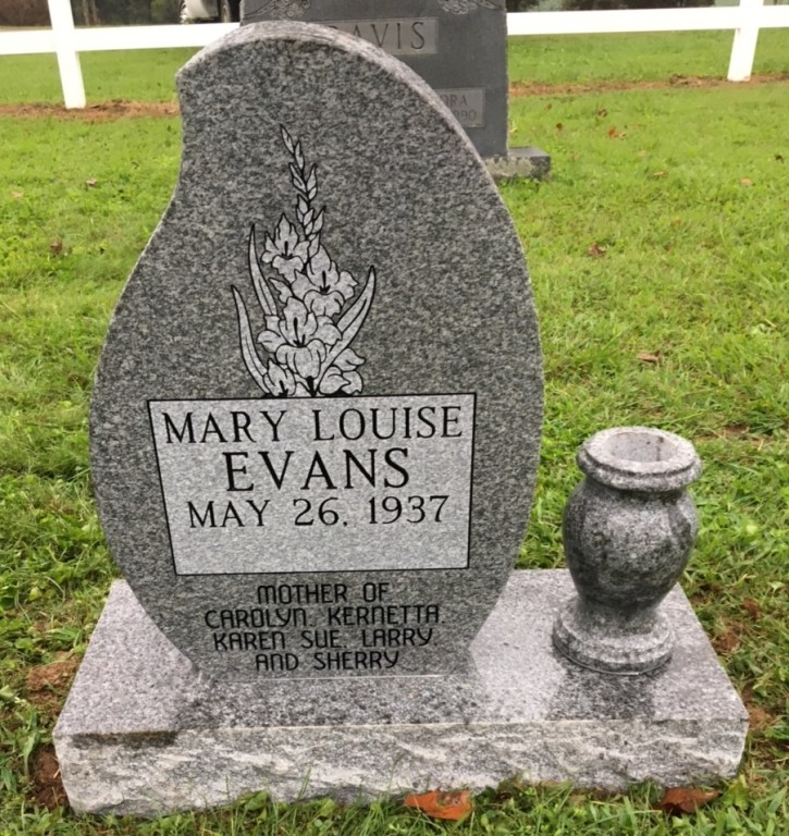 Headstone for Mary Louise Evans