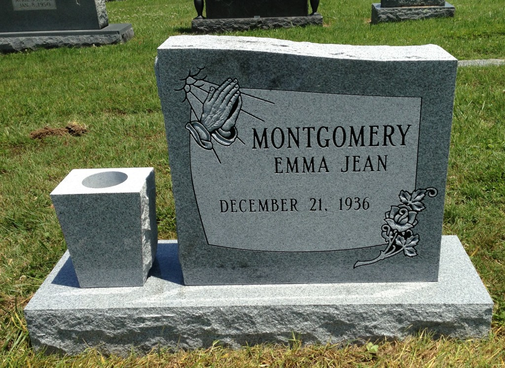 Headstone for Emma Jean Montgomery