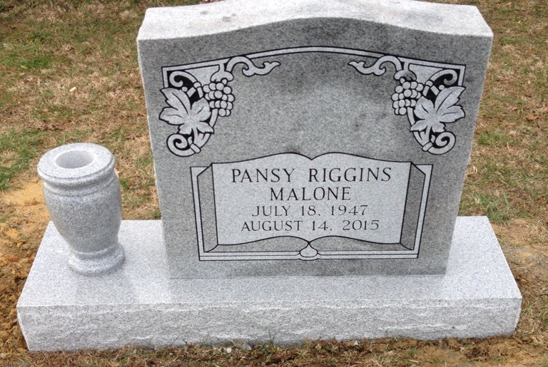 Headstone for Pansy Riggins Malone