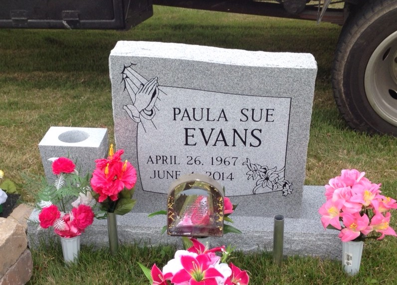 Headstone for Paula Sue Evans