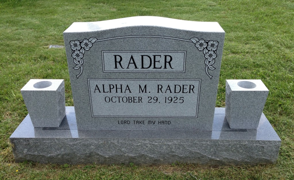 Headstone for Alpha M. Rader