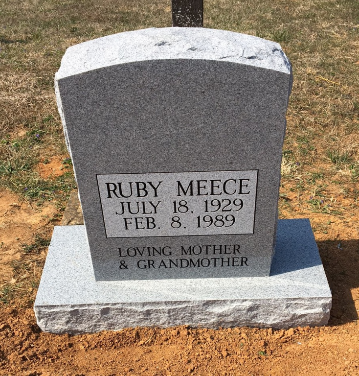 Headstone for Ruby Meece