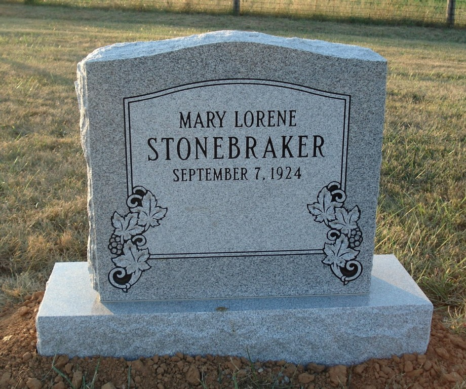Headstone for Mary Lorene Stonebraker