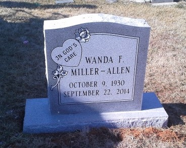 Headstone for Wanda Miller-Allen