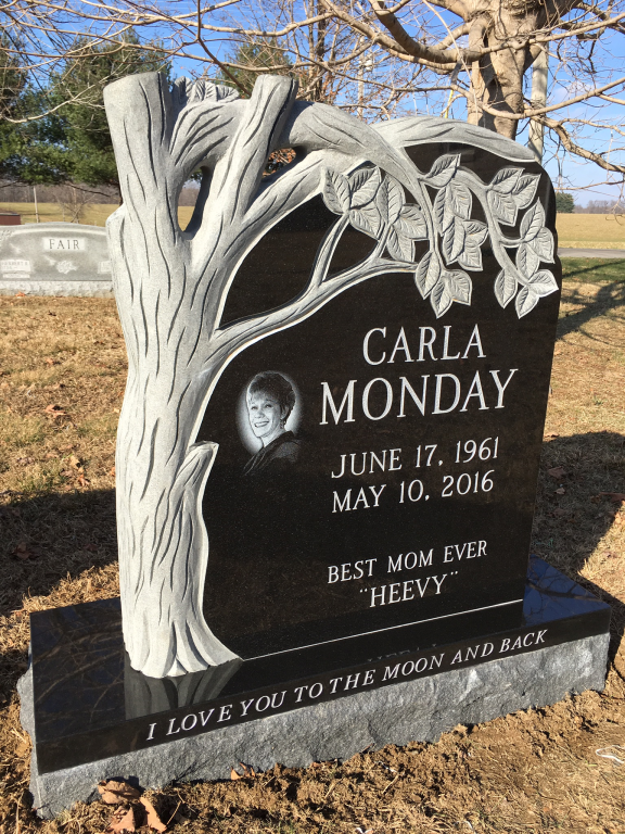 Front of Carla Monday headstone