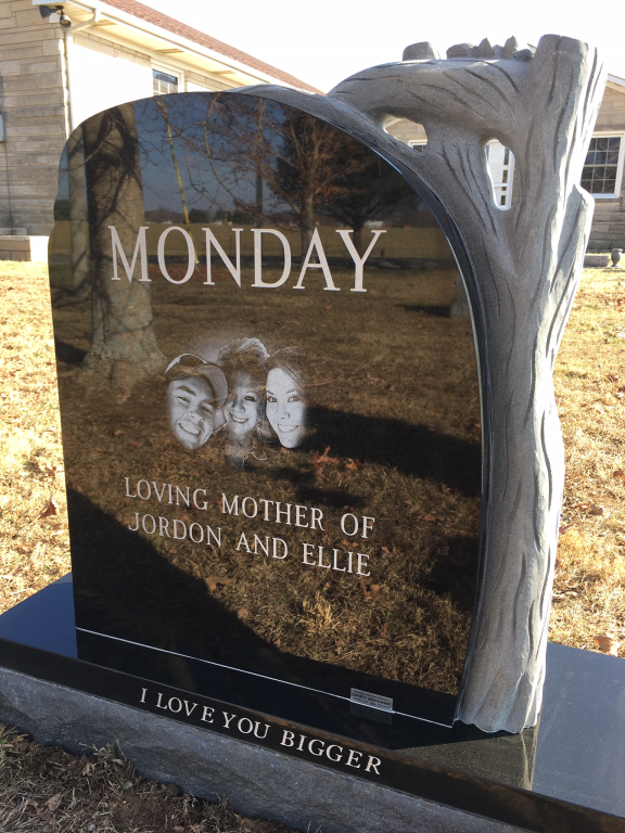 Back of Carla Monday headstone