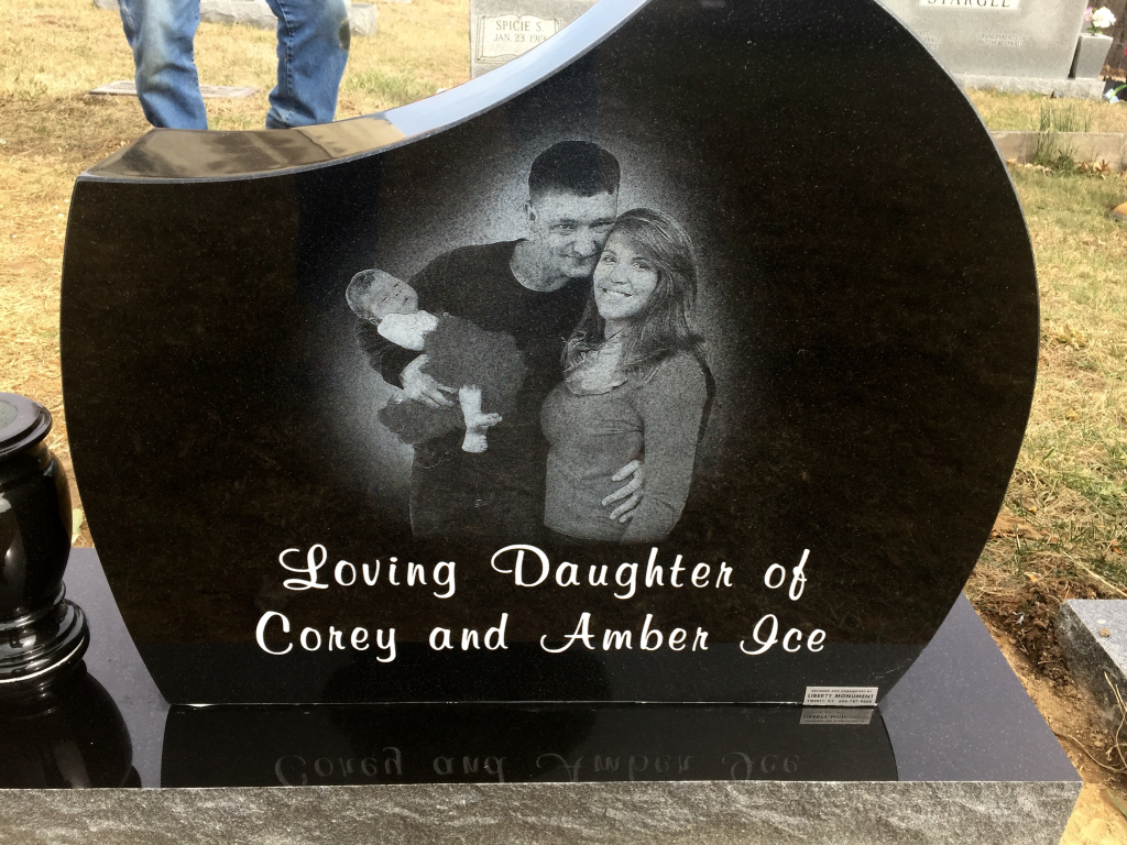 Back of Charlotte Rose Ice headstone