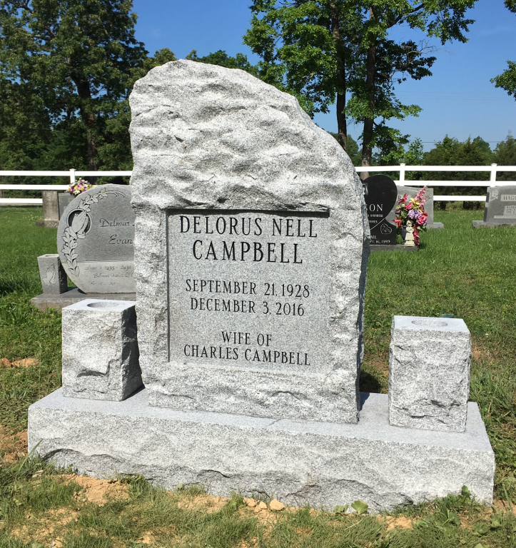 Front of Delorus Campbell headstone