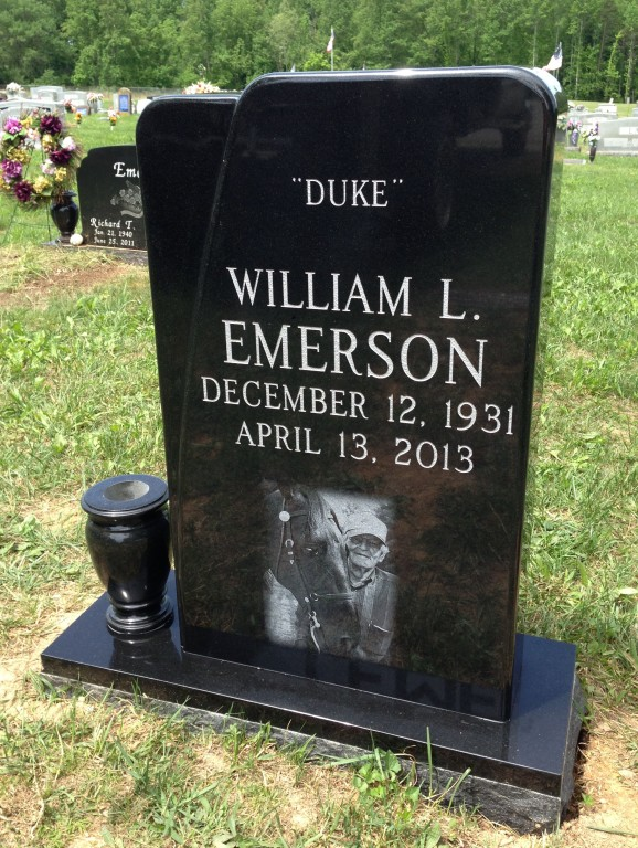 Front of Duke Emerson headstone