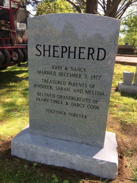 Back of Shepherd triple headstone