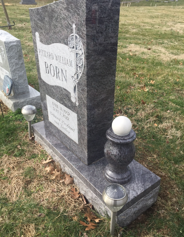 Side view of Richard Born headstone