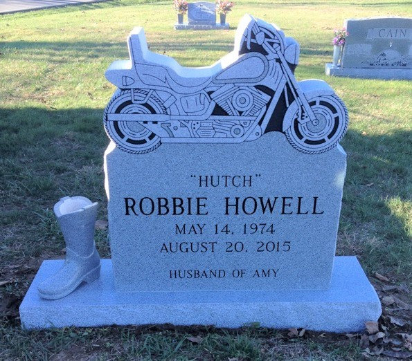 Motorcycle headstone for Robbie HutchHowell