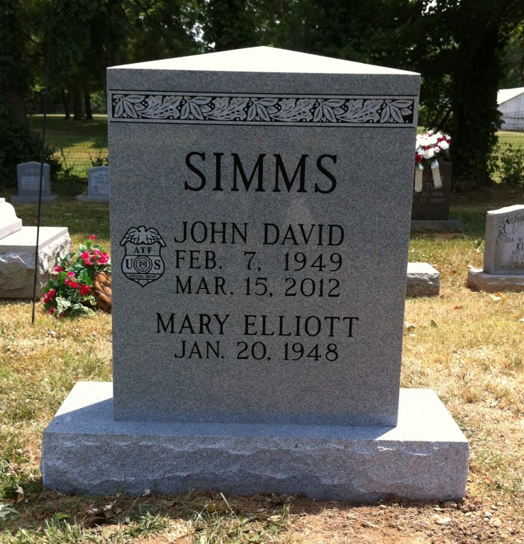 Front of John David and Mary Simms headstone