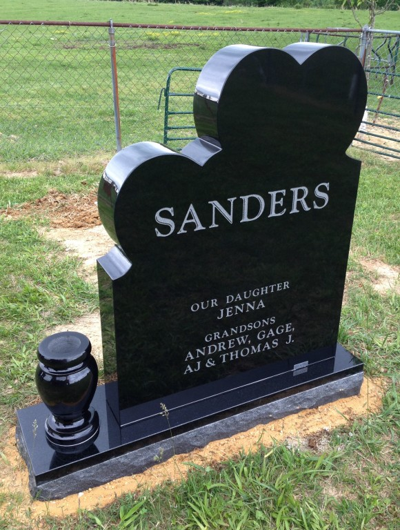 Back of Joey and Karen Sanders headstone