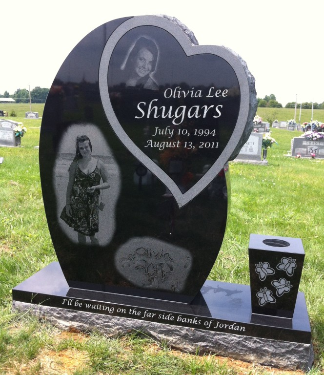 Front of Olivia Shugars headstone