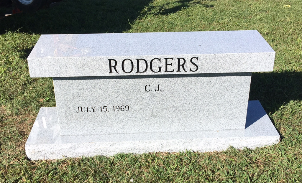 Headstone bench for CJ Rodgers