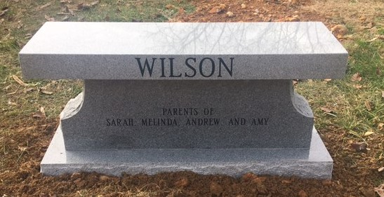 Back of headstone bench for Mark and Wanda Wilson