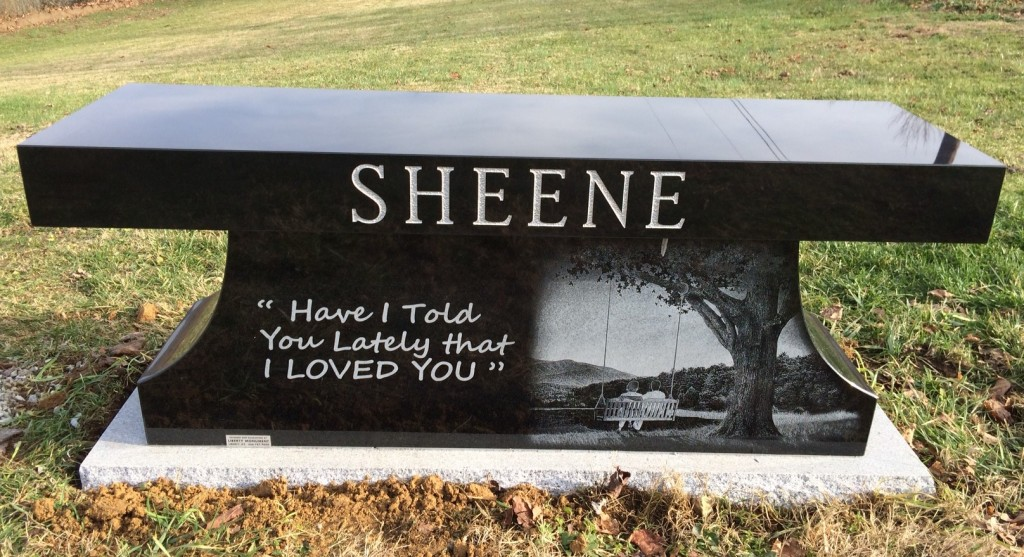 Back of headstone bench for Robert and Billy Sheene