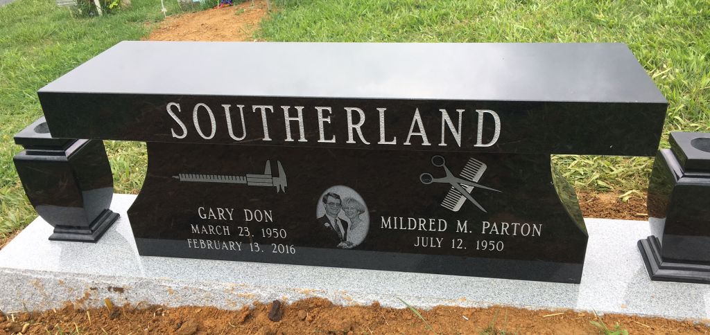 Front of headstone bench for Gary and Mildred Parton