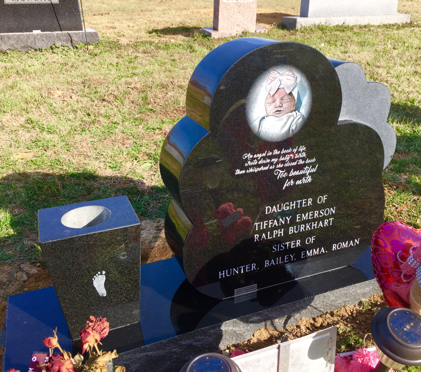 Back of Mavis Burkhart infant headstone