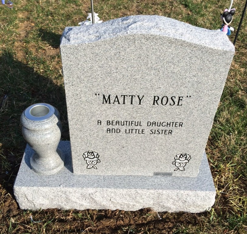 Back of Madison Rose Chadwell infant headstone