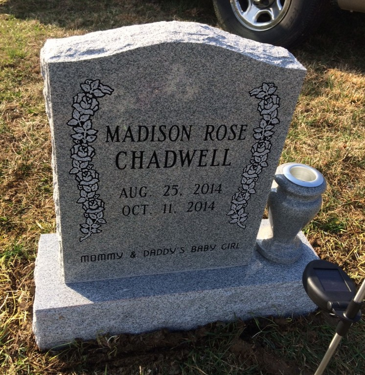 Front of Madison Rose Chadwell infant headstone
