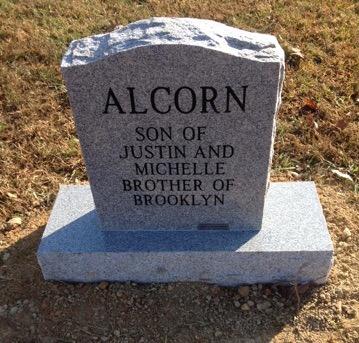 Back of Bryson Chad Alcorn infant headstone
