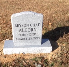Front of Bryson Chad Alcorn infant headstone