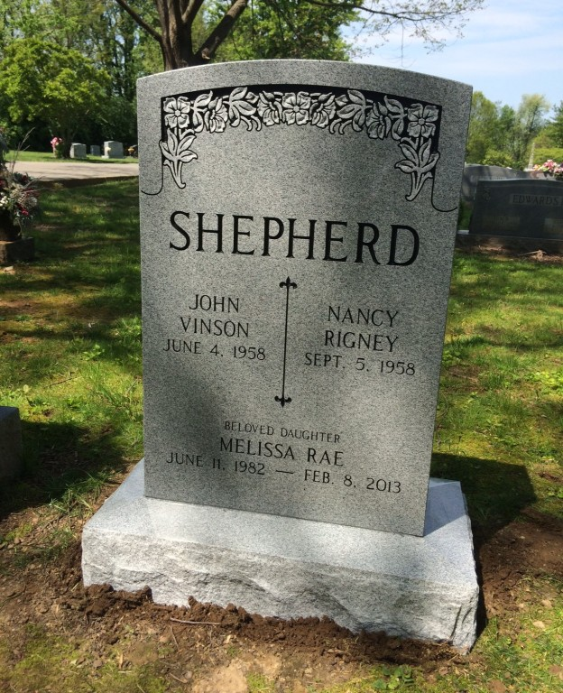 Front of Shepherd triple headstone