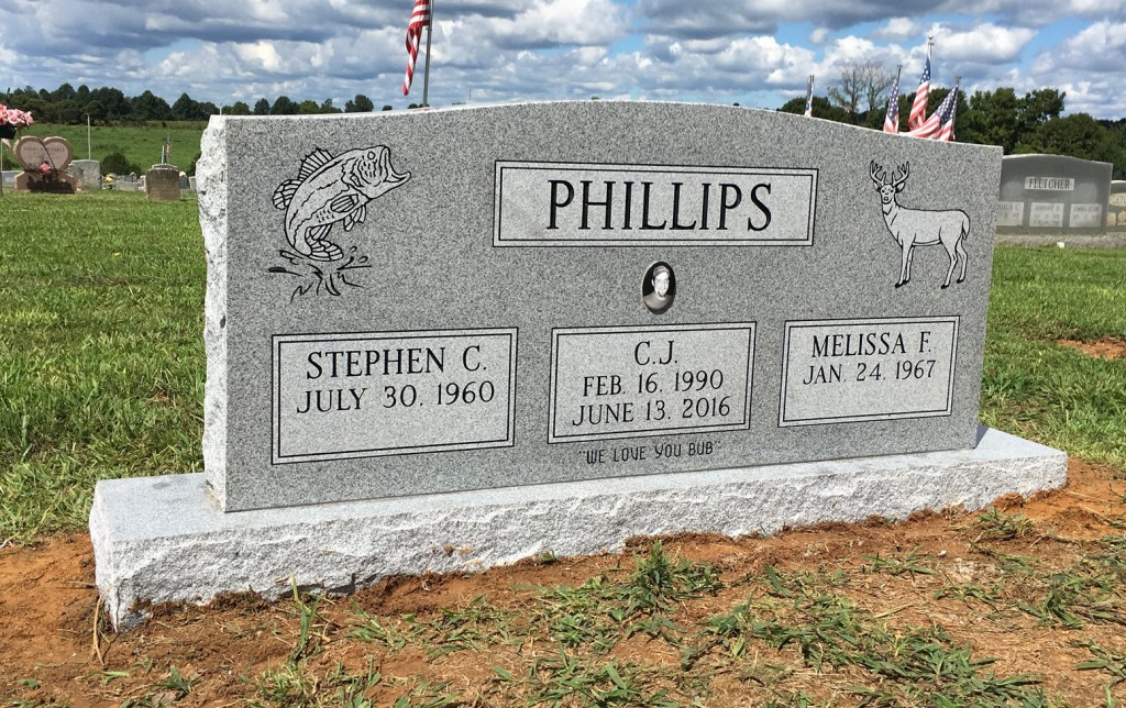 Front of Phillips triple headstone