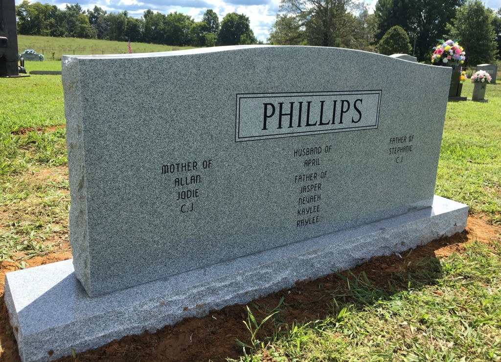Back of Phillips triple headstone