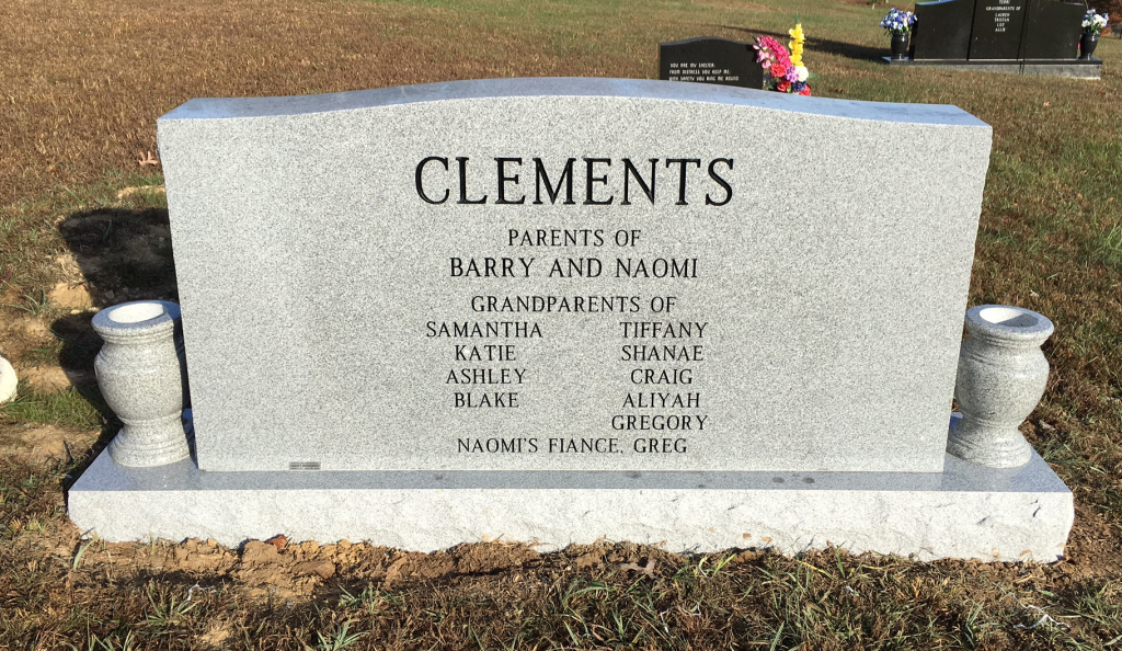 Back of Clements triple headstone