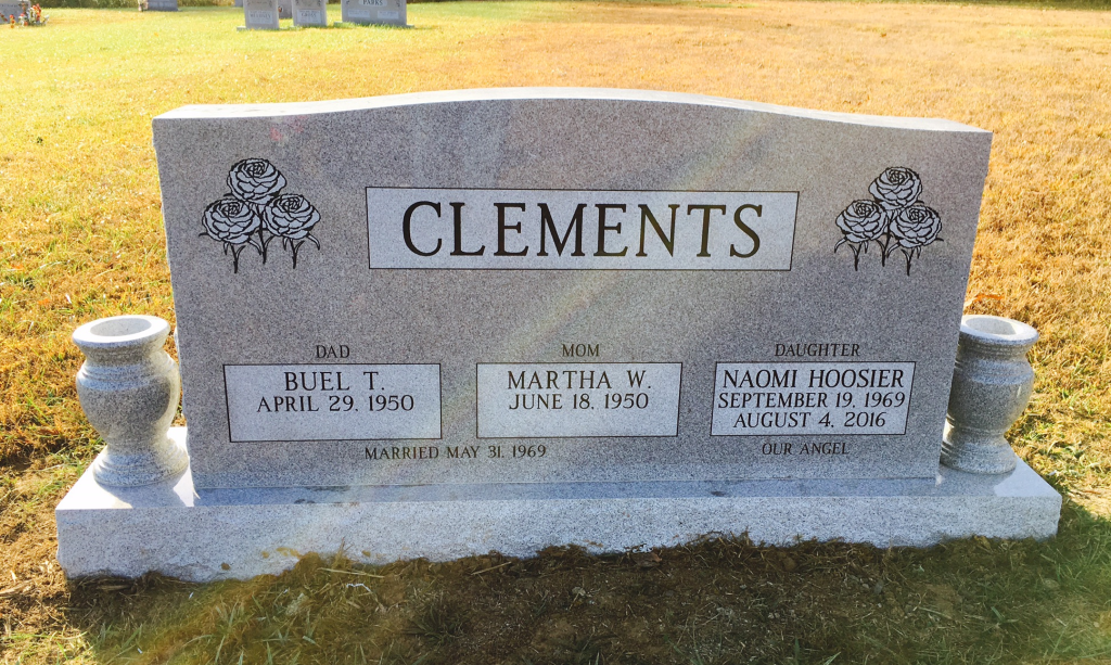 Front of Clements triple headstone