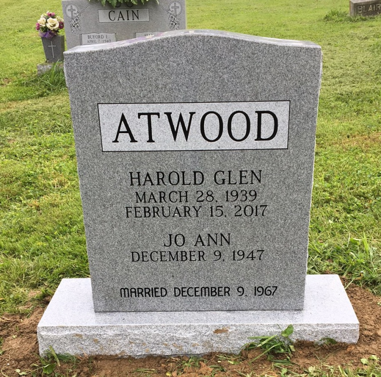 Front of Harold Glen and Jo Ann Atwood headstone