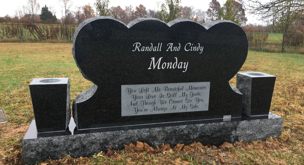 Back of Randall and Cindy Monday headstone