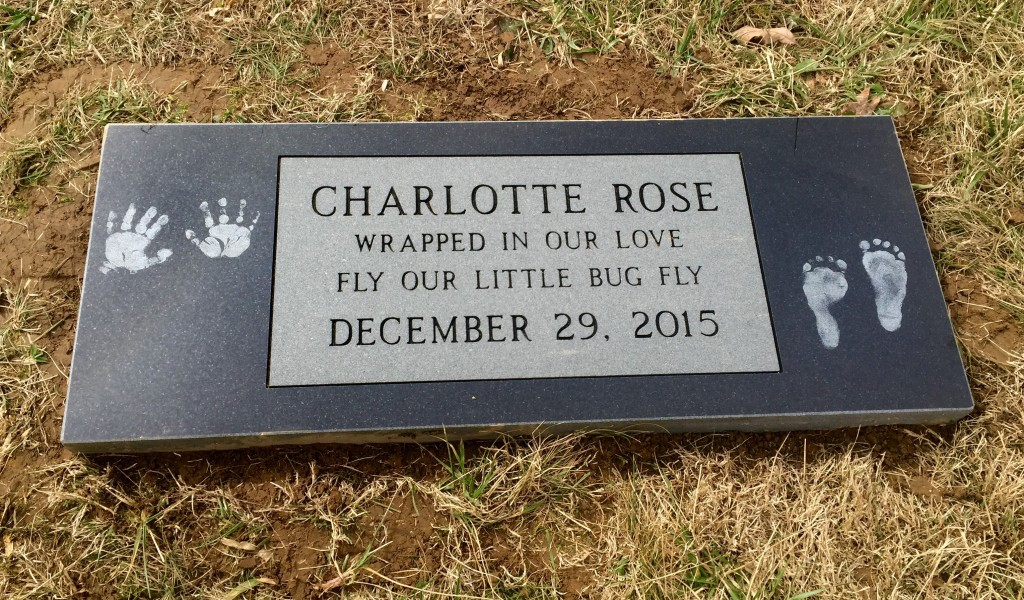 Foot black granite marker for Charlotte Rose Ice