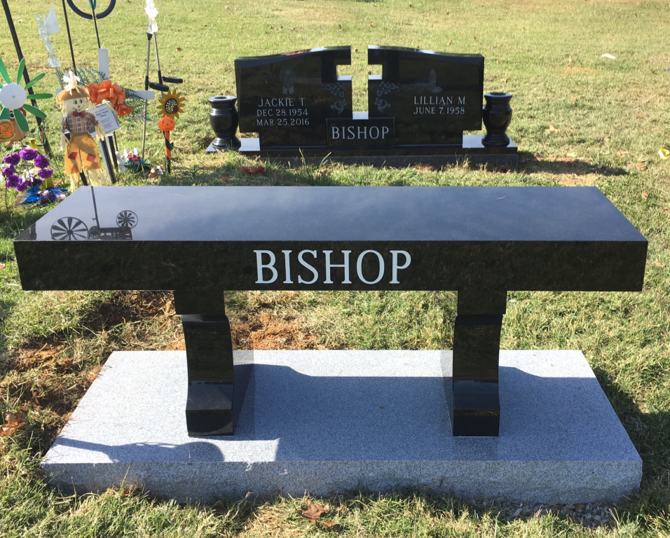 Bench and headstone for Jackie and Lillian Bishop
